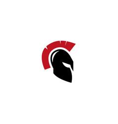 spartan helmet for warrior protection logo vector image