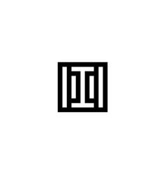 square stripes logo letter i vector image