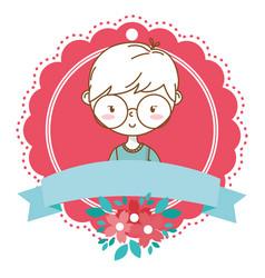 stylish boy cartoon outfit portrait floral frame vector image