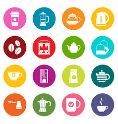 tea and coffee icons many colors set vector image