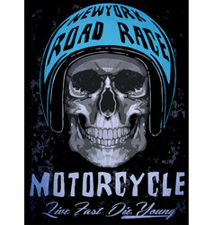 Tee skull motorcycle graphic design vector
