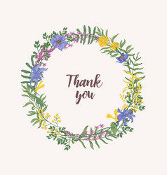 thank you lettering written with cursive font vector image