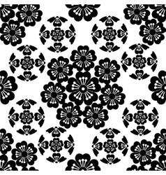 The stylized black seamless Sakura flower vector image