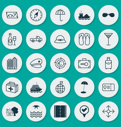Tourism icons set collection of sunrise checked vector