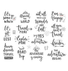 Travel lettering design set vector