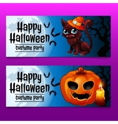 Two horizontal fun cards with cat and pumpkin vector image