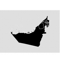 united arab emirates map - high detailed black vector image
