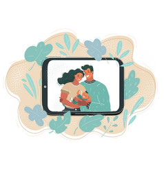 view young couple using vector image
