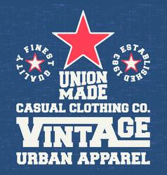 vintage denim and t shirt stamp vector image