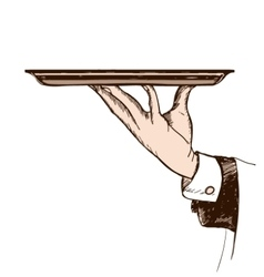 Waiters hand holding a tray vector