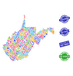 Welcome composition of mosaic map of west virginia vector