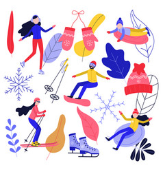 winter sport and active leisure set with people vector image