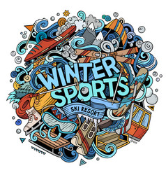 Winter sports hand drawn cartoon doodles vector