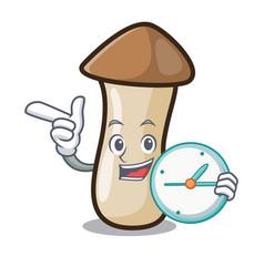 With clock pleurotus erynggi mushroom character vector