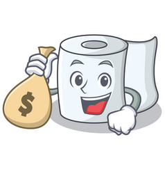 with money bag tissue character cartoon style vector image