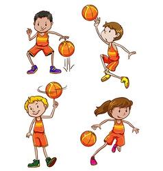 Young basketball players vector