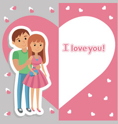 Young couple lettering i love you vector