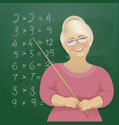 a woman teacher at the blackboard vector image vector image
