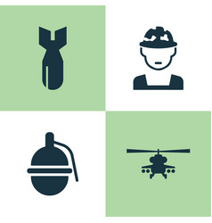 army icons set collection of rocket military vector image