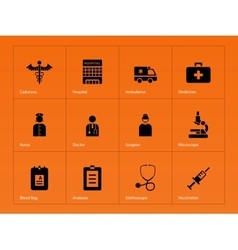 Hospital icons on orange background vector image