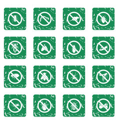 no insect sign icons set grunge vector image