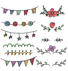 Set of decorative design elements on white vector