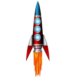 starting red rocket on white vector image