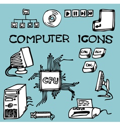 computer icons doodle vector image vector image