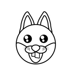 fox face animal outline vector image vector image
