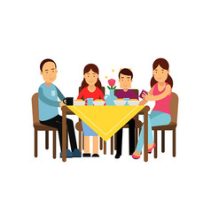 happy family having meal together husband and vector image