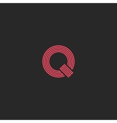 Letter Q monogram simple logo thin line broken vector image