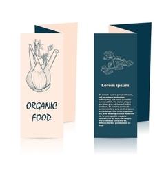 Organic food brochure for design vector image