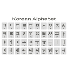 Set of monochrome icons with korean alphabet vector image vector image
