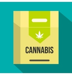Cannabis cigarette box icon flat style vector image
