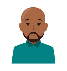 colorful silhouette half body brunette bald man vector image