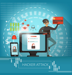 concept of computer crime and hacker vector image vector image
