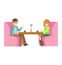 Couple In Glasses On A Date Eating A Cake Smiling vector image vector image