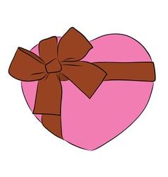 drawing heart with big ribbon bow vector image vector image