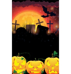 Evil Jack O Lanterns on a moon background vector image