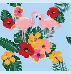 floral flamingo background vector image