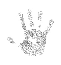 hand of human made of black lines vector image vector image