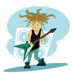 Hardcore guitar long hair player vector image