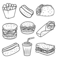 hot dog burger taco sandwich burrito set of fast vector image vector image