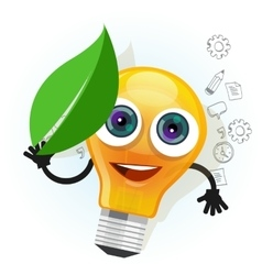lamp bulb light leaf cartoon character smile happy vector image