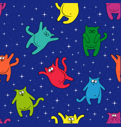 seamless pattern with amusing cats on starry sky vector image