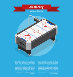 table air hockey game banner card isometric view vector image vector image