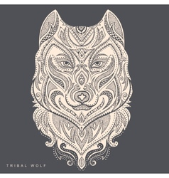 tribal style wolf totem tattoo vector image