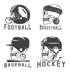 Vintage sport labels set with skulls vector