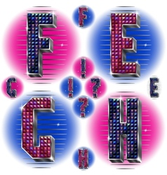 Volume letters EFGH with shiny rhinestones vector image