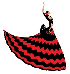 woman flamenco with black fan vector image